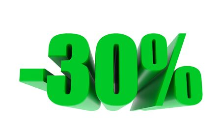 -30 percent off discount promotion sale. 3D Render. 3D-Illustration percent discount collection for your unique selling poster, banner ads. Christmas, Xmas sale and more