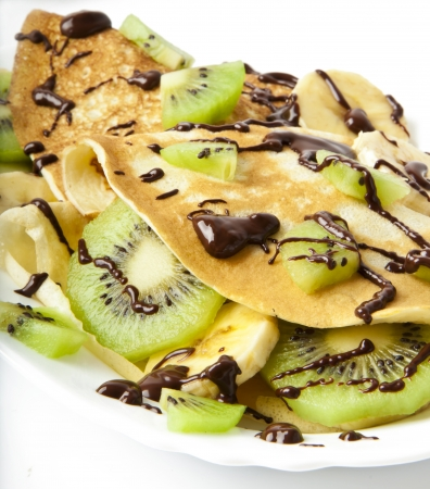 pancakes with kiwi and banana photo