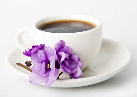 cup of coffee,  violets on a white table Stock Photo - 14117062