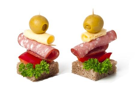 Small sandwich on white background photo