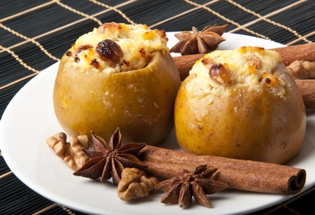 Appetizing baked apples with cottage cheese Stock Photo