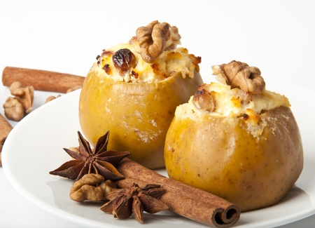 Appetizing baked apples with cottage cheese photo