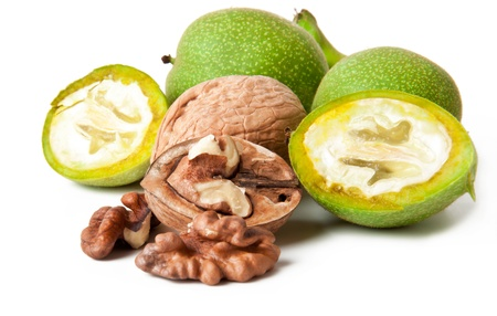 kernel: Green walnut, peeled and fresh kernel, on a white background