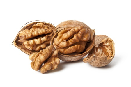 Walnuts on a white background Stock Photo