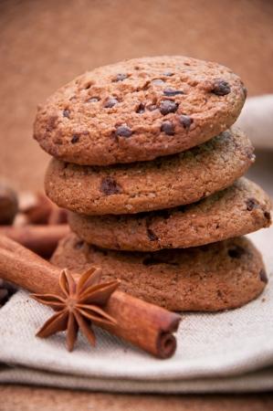 baking cookies: Biscotti con closeup cioccolato Archivio Fotografico