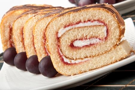 Swiss roll with jam photo