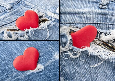 rapprochement: Heart in jeans.Collage