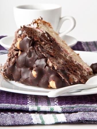 piece of chocolate cake with hazelnuts