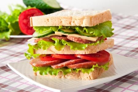 Frisch und lecker Sandwich auf einem weißen Teller