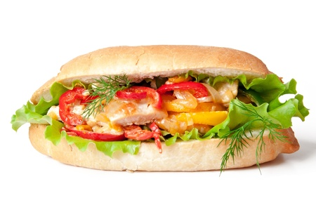 Grilled chicken sandwich with paprika and lettuce Stock Photo