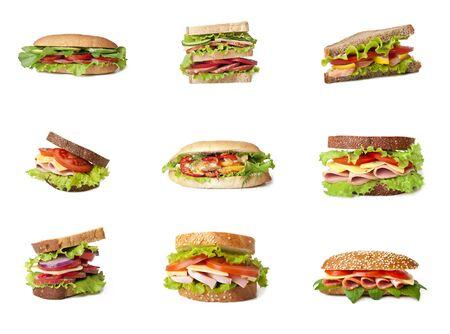 atun: Collage de s�ndwiches deliciosos. Foto de archivo