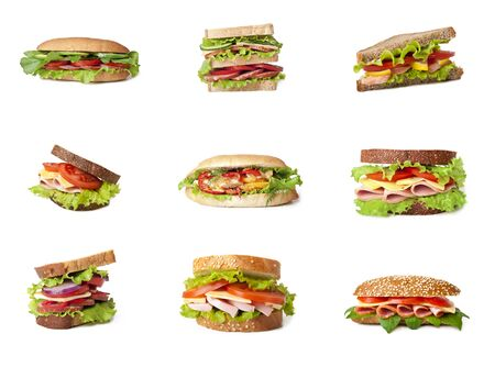 Collage of delicious sandwiches. Stock Photo