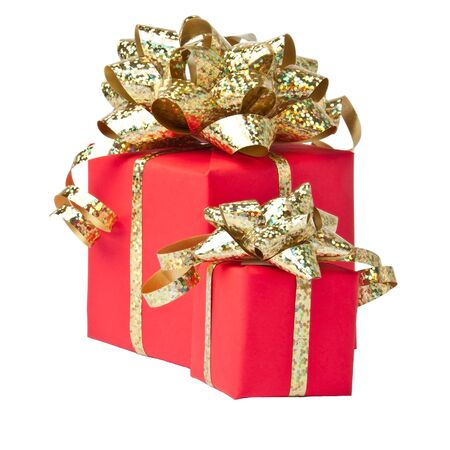 Two gifts wrapped with golden bow, white background Stock Photo - 15932663