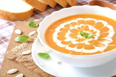Cream of pumpkin soup with sour cream sauce