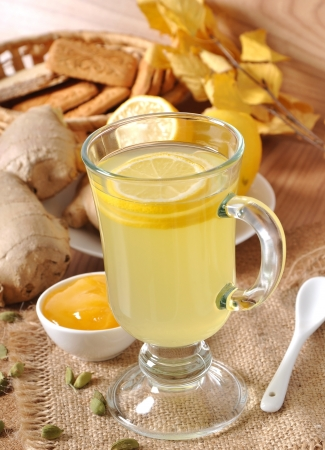 Healthy ginger tea with lemon and honey on the table Stock Photo - 16098367