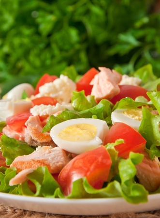 fresh salmon salad, lettuce and quail eggs photo