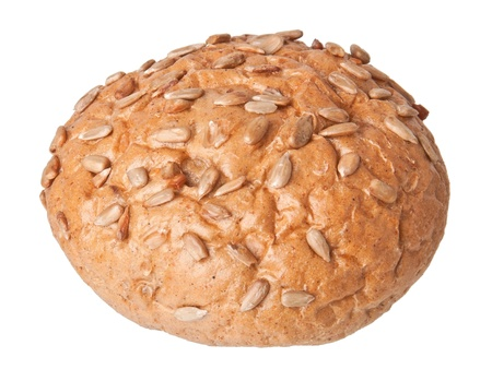 Round sandwich bun with sunflower seeds isolated on white background Stock Photo - 17044545