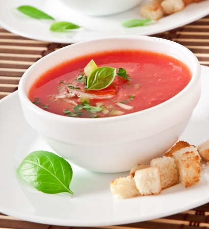delicious cold Gazpacho soup in white bowl photo