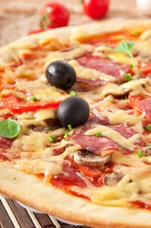 pizza with salami, tomatoes and mushrooms Stock Photo - 17284788