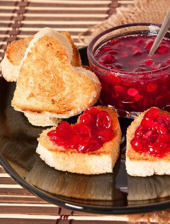 heart-shaped toast with jam Stock Photo - 17595705