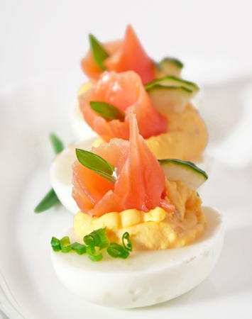 stuffed eggs with salmon photo