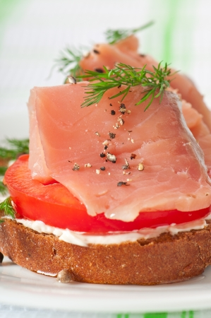 Appetizing sandwich with salmon photo