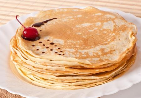 pancake week: pancakes with chocolate and cherries Stock Photo