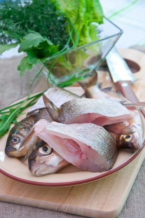 raw fish: raw fish on a plate Stock Photo