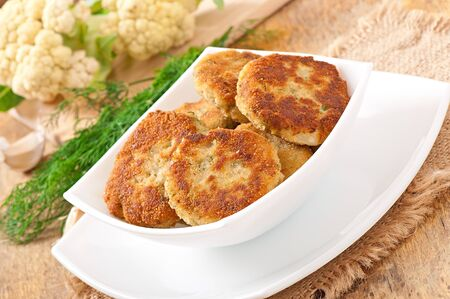cutlets cauliflower with dill and garlic photo