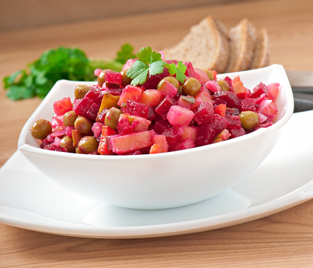 russian salad: Traditional Russian salad of beetroot Stock Photo