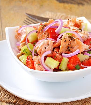 sheppard: Salad Sheppard c Norwegian salmon Stock Photo