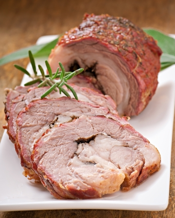 veal roll filled with minced beef meat and herbs Stock Photo