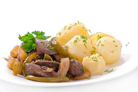 higado de pollo: H�gado de pollo frito con manzanas, pimiento y cebolla