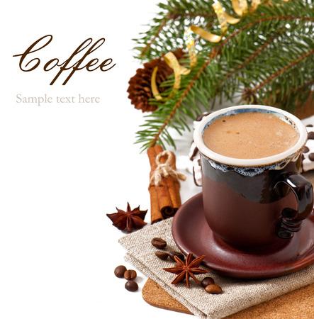 Closeup cup of italian espresso with cinnamon photo