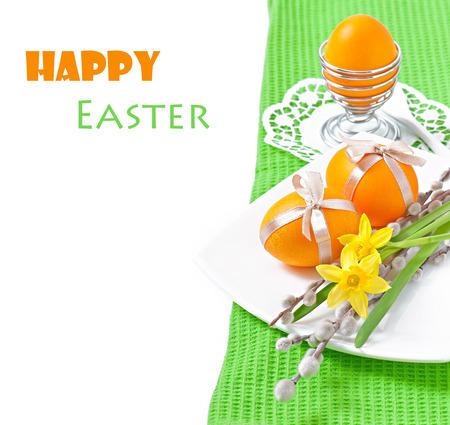 osier: Colorful easter eggs on white