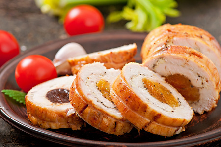 chicken roll with prunes and dried apricots photo