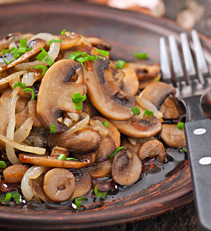Fried mushrooms and onions on a ceramic plate photo
