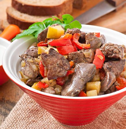 innards: Roast chicken liver with vegetables