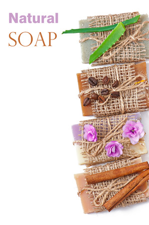 Natural soap isolated on white background photo