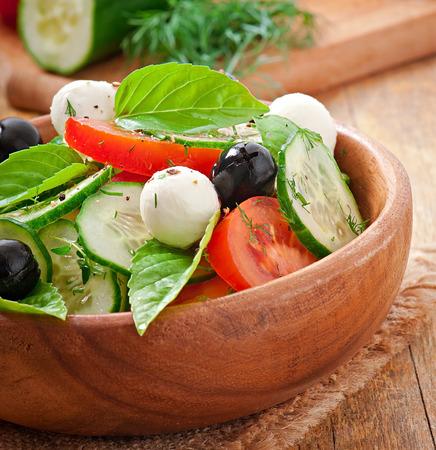 Fresh vegetable greek salad, close up photo