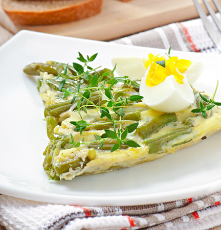 Omelet with green bean photo