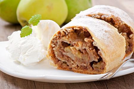 Apple strudel with ice cream photo
