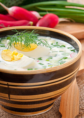 kefir: Cold vegetable kefir soup with eggs and greens Stock Photo