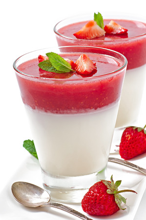 Dessert Panna Cotta with fresh strawberry photo
