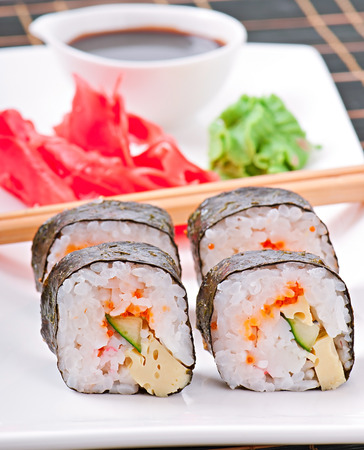 traditional fresh japanese sushi rolls photo
