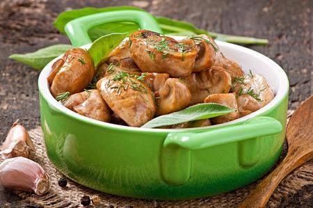 sauteed: Sauteed mushrooms Stock Photo