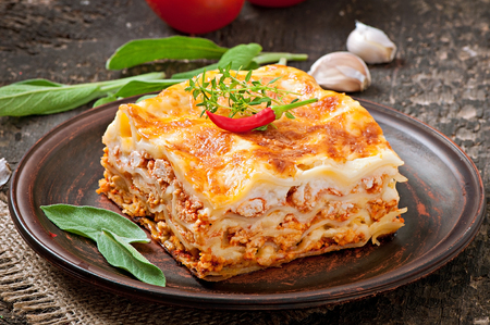 Classic Lasagna with bolognese sauce photo