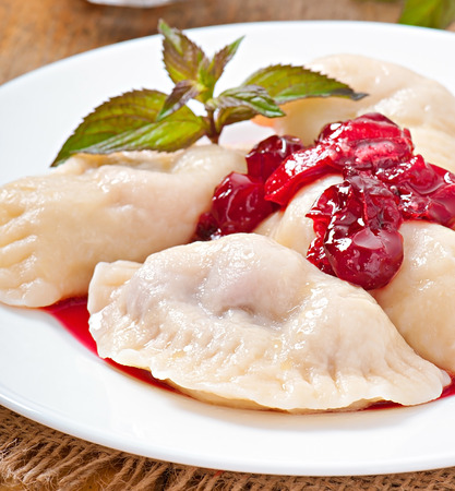 Cherry dumplings with mint photo
