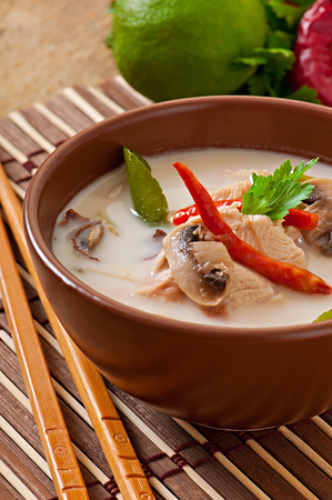 sopa de pollo: Thai soup with chicken and mushrooms Foto de archivo