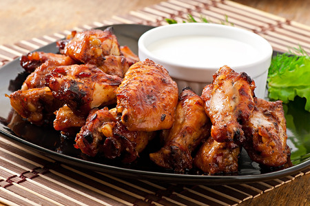fried chicken wings: Baked chicken wings in the Asian style